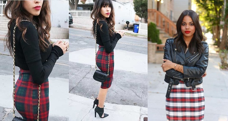 Black Leather Jacket and Tartan Skirt