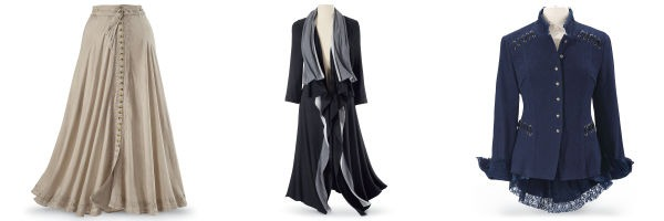 Pyramid Collection: Button Front Maxi Skirt, Black and Grey Cascading Coat and Victorian Tailcoat